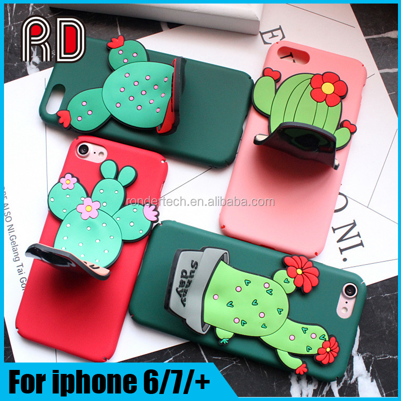 Sunny day 3D silicone cactus matte stand hard pc back cover for iphone 7 7 plus 6 6 plus