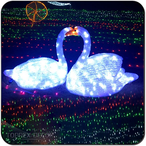 Acrylic rgb decorative 3D realistic Led lighted swan outdoor wedding decorations