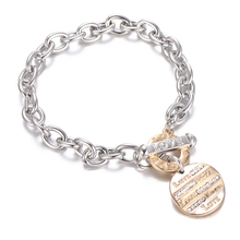 promotional metal chain stainless steel luxury love charms couple bracelets for women