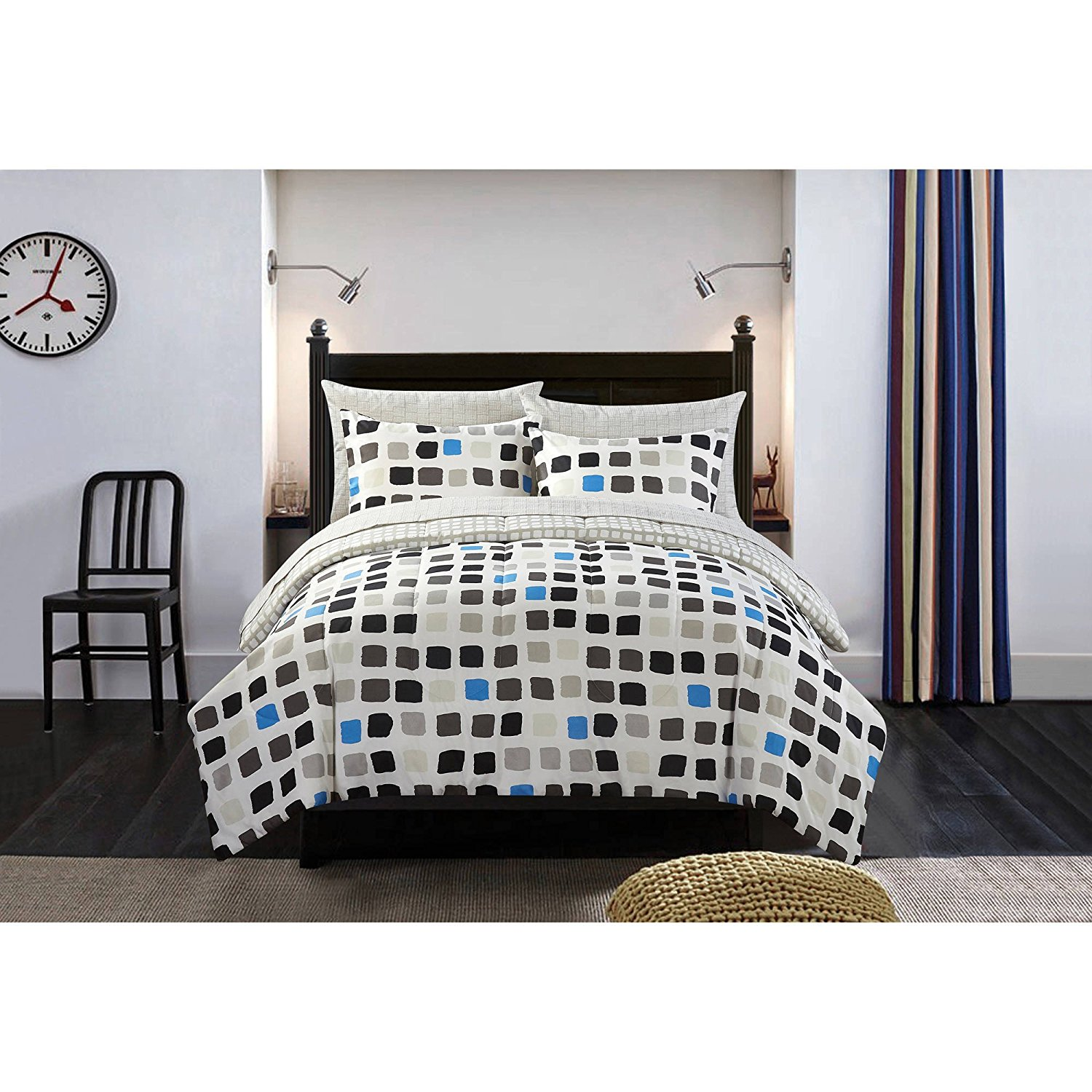5 Piece Black White Metro Block Comforter Set Twin Twin Xl, Dark Black Blue Grey Pixel Minecraft Printed Teen Themed, Reversible Chic Grey Silver Block Line Design Kids Bedding For Bedroom, Polyester