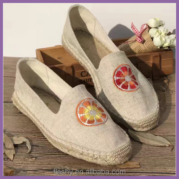 Wholesale embroidering espadrilles flat nature canvas shoes classic
