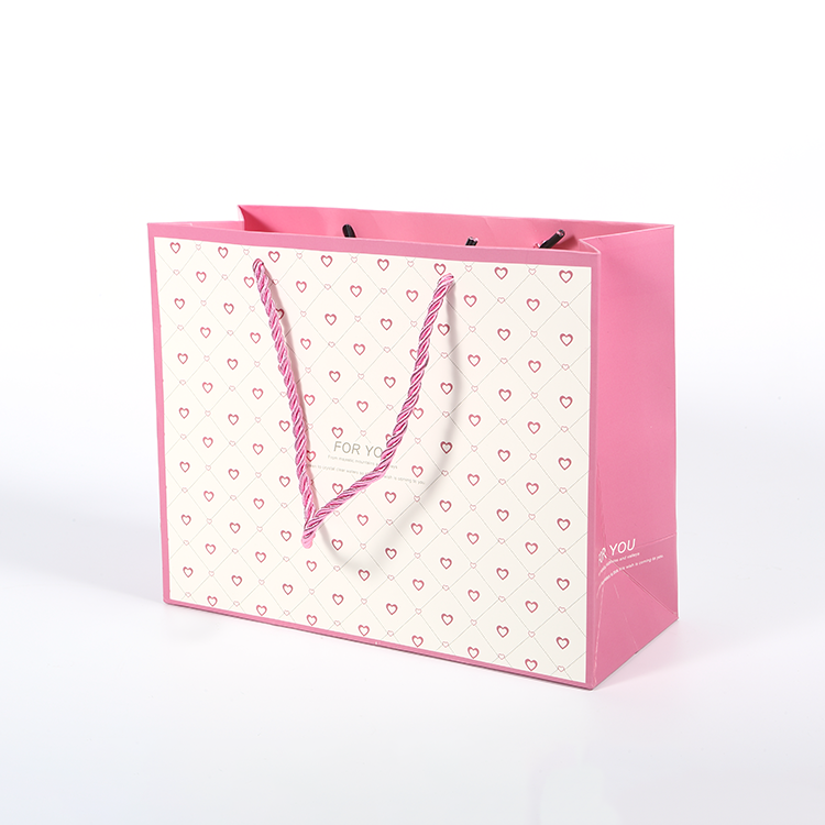 Custom logo print boutique shopping bag with handle