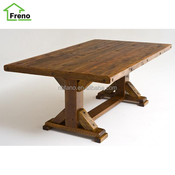 Fn 1696 Wooden Coffee Table Barn Wood Trestle Base Reclaimed Product On