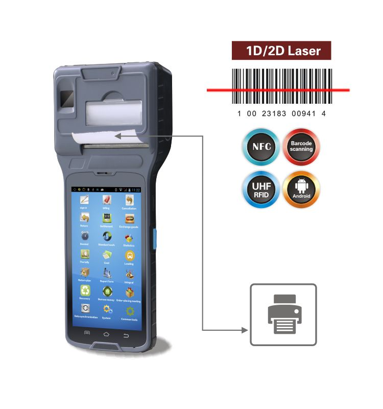 GPS PDA Smart handheld terminal POS printer CM550 android OS with bluetooth and wifi android barcode scanner