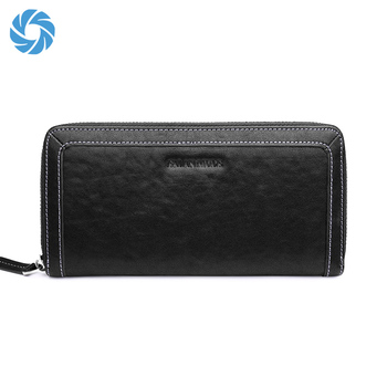 Men style Genuine Leather Clutches Black Luxury Purse Designer Male Long Wallets from Baiqiang leather bag factory