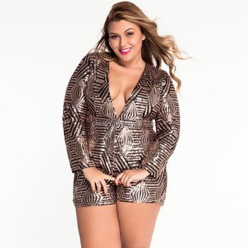K1646a New Fashion Plus Size Sequins Jumpsuits For Fat Women 2017
