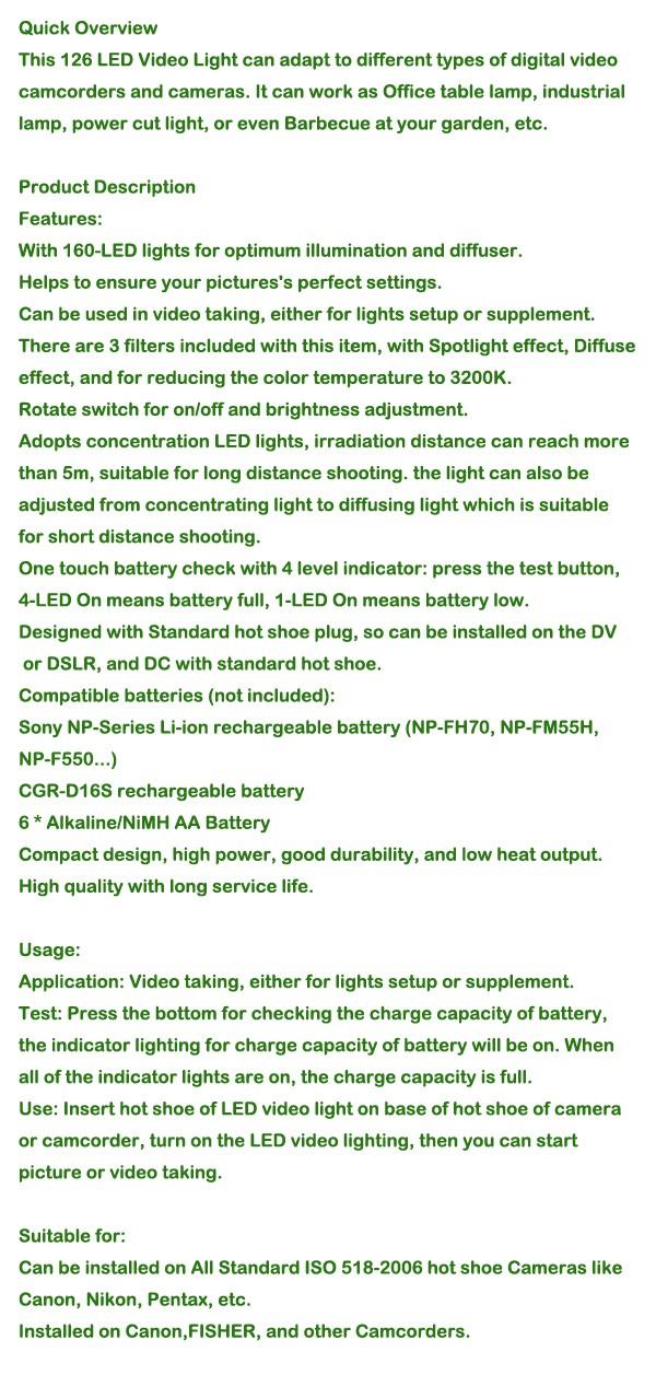 סטודיו צילום אביזרים CN-126 LED מצלמת וידאו אור טוב יותר מאשר led w160 מצלמת וידאו DV צילום תאורה 5400K עבור Canon Nikon