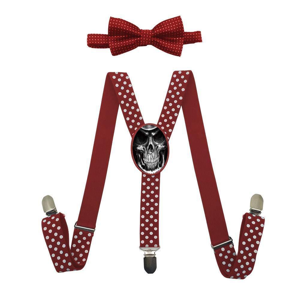 Qujki Skull Suspenders Bowtie Set-Adjustable Length