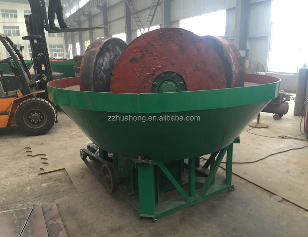Huahong gold three wheels wet pan mill,gold milling grinding machine