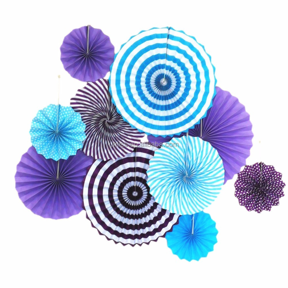 Paper Fans Color Purple Turquoise for Under the Sea Mermaid Theme Birthday Party Wedding Ball Baby Shower Decoration mixed Sizes