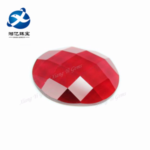 Big Size Oval Cut Flat Back Red Glass Loose Gemstone