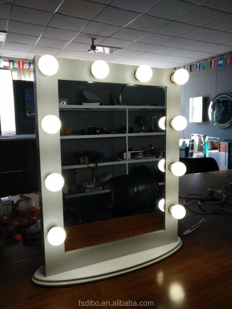 barato al por mayor teatral vanidad chica hollywood espejo de maquillaje con luz led espejo