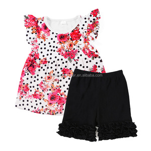floral black polka dots toddler girls ruffle clothes baby boutique wholesale