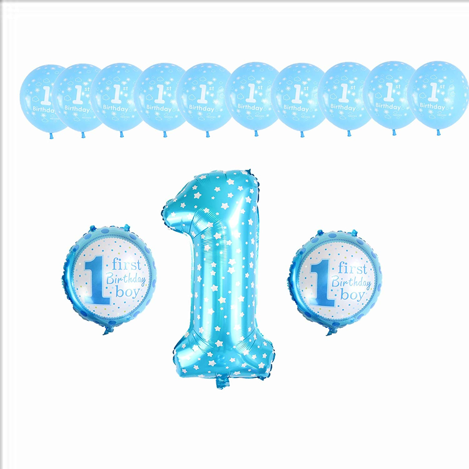 1 Year Old Birthday Party Decorations Baby Boy Girl Pink Blue Latex Foil Balloons 42inch