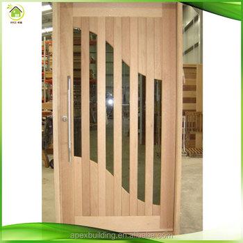 Entry Door Solid Wood Door With Glass Simple Design