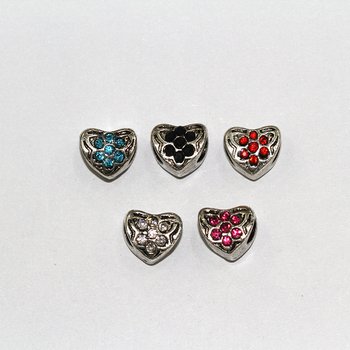 Hot sell Heart Shape European Style Bead Big 4mm Hole Spacer Beads For Bracelet