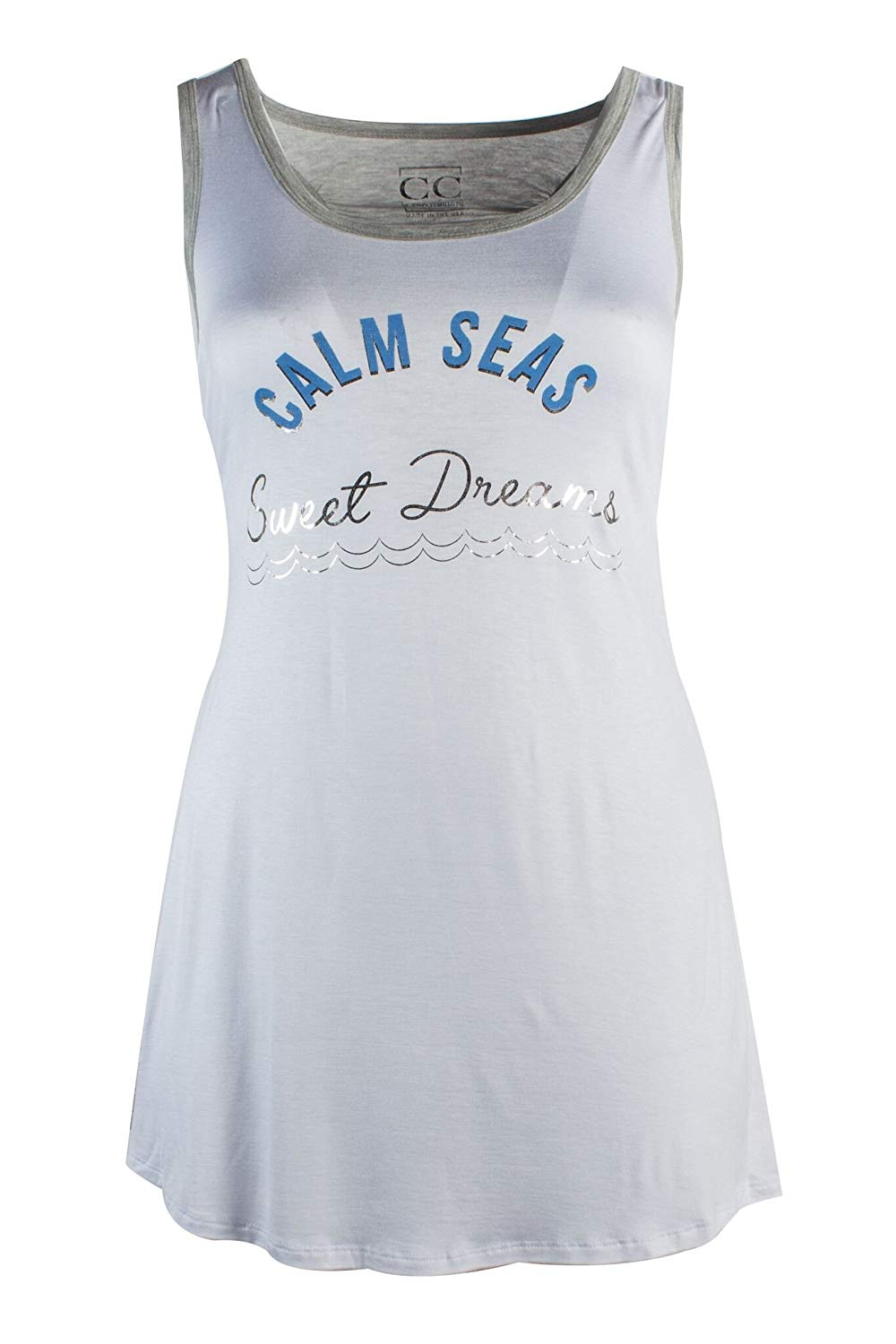 4a69a62f6644f Get Quotations · Curvy Couture Women's Plus Size Calm Sea Sleep Shirt