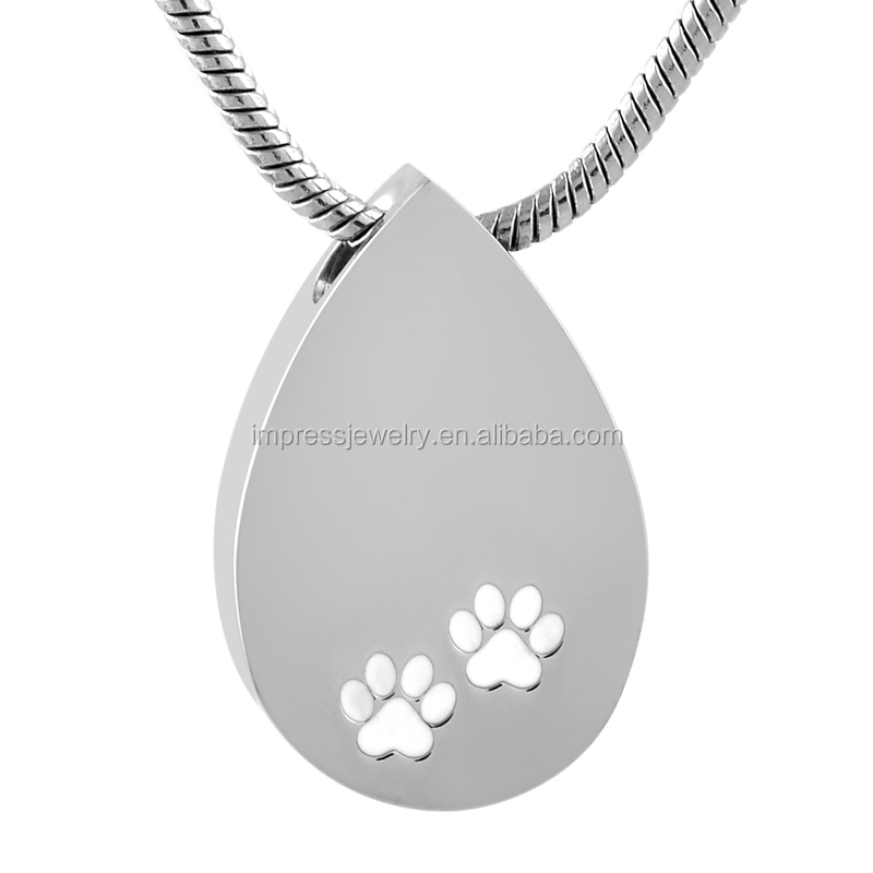 Factory Wholesale Animal Paw Teardrop Shape Cremation Ashes Keepsakes Necklace Pet Cremation Pendant Stainless Steel Jewelry