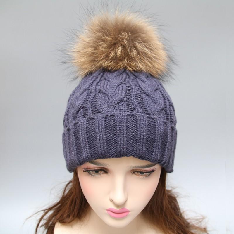 зимние мужские вязаные шапки с большой меховой мячик на топ вязаные