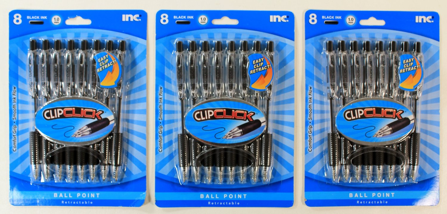 Get Quotations · Inc. ClipClick Ball Point Retractable Pens - (3 Packs of  8) - 24