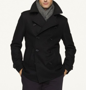 Mens Laser-cut Wool Pea Coat - Buy Black Long Men Wool Coat,100 ...