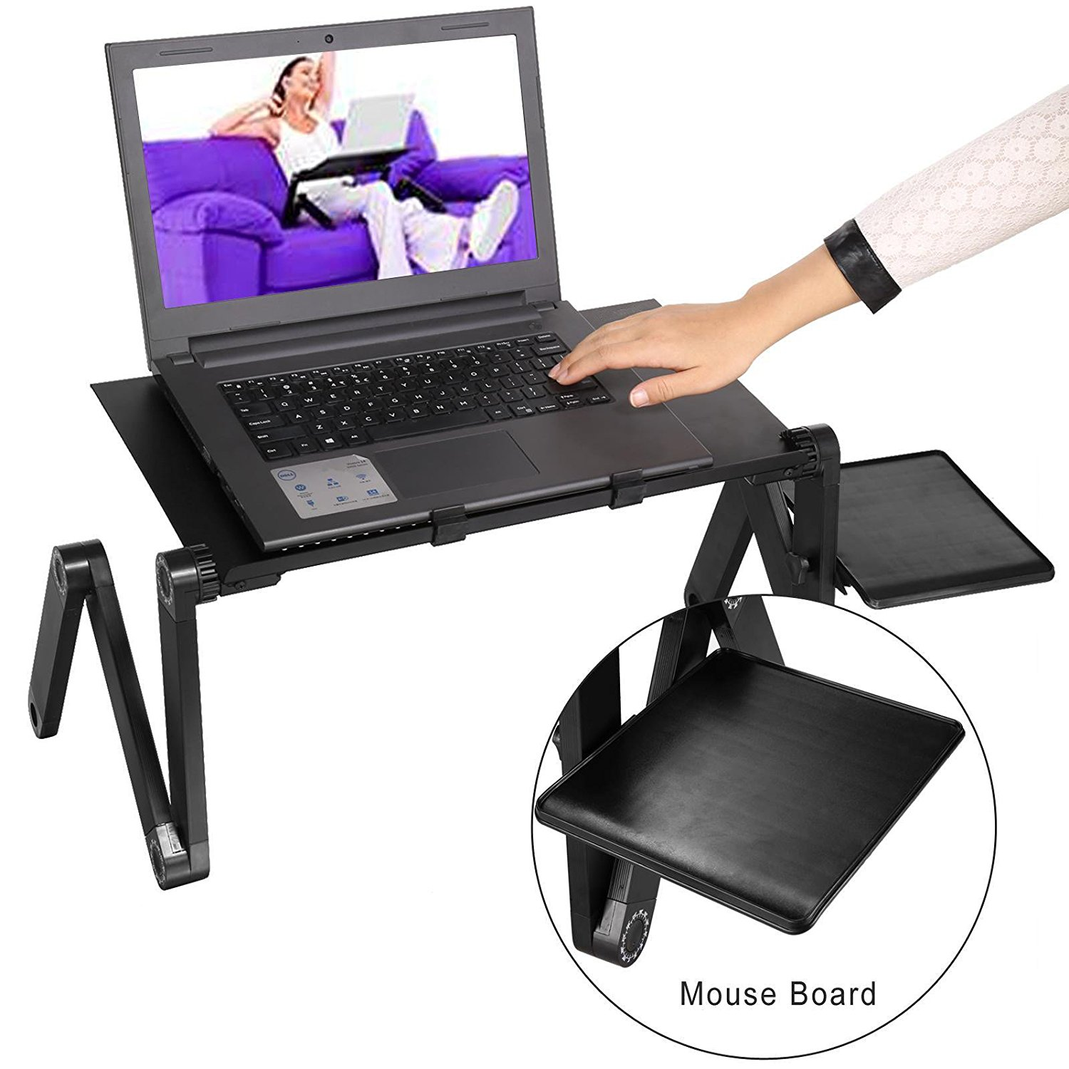 Keland 360 Degree Adjustable Foldable Computer Desk, Portable Lightweight Multifunction Laptop Table Stand with Mouse Board, Black (US Stock)