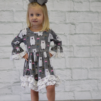 2018 new style wholesale boutique little girl casual long sleeves floral fall winter dress baby girl frock design