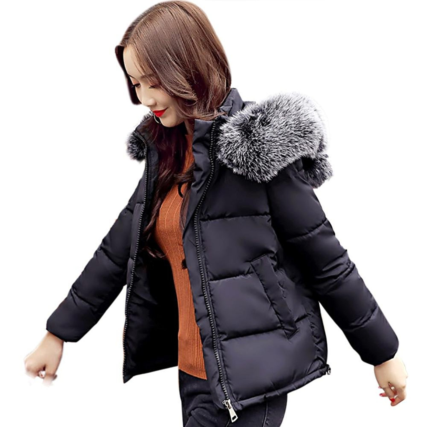 Dingji Women Casual Thicker Winter Warm Lammy Jacket Short Coat Overcoat Outwear