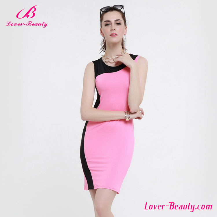 New arrive pink midi women office tight fitted dress