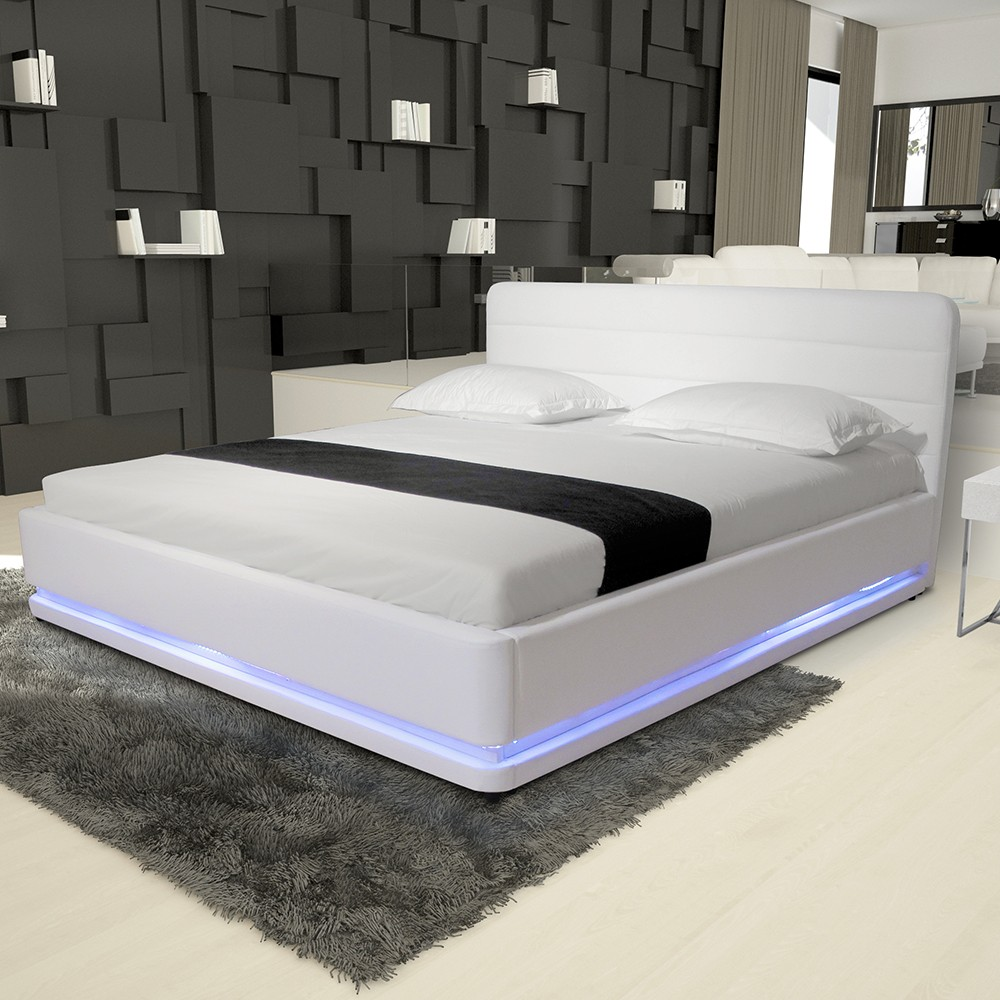 Modern Pu Leather Bedroom Furniture Frame Beds Rgb Led Light Beds - Buy  Modern Furniture Beds,Rgb Led Bed,Leather Bed With Led Light Product on