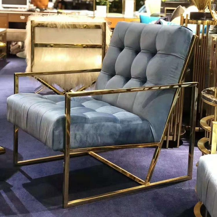2019 New Interior Design Contemporary Living Room Luxury Furniture Brass <strong>Sofa</strong> with Gold Stainless Steel Frame