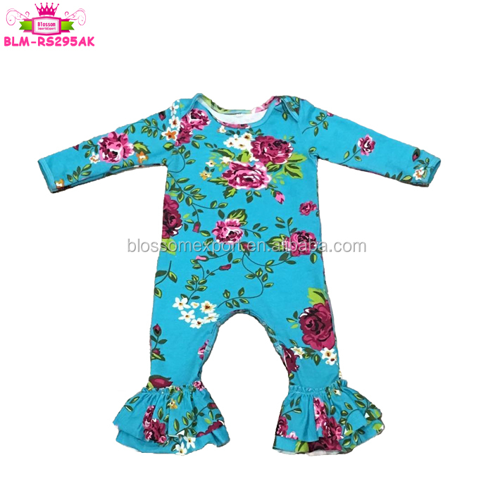 Summer Cute Baby Girls Bubble Romper Lace Cross Back Baby Floral Jumpsuit