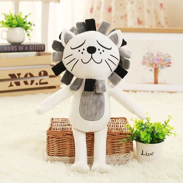 2016NEW 40CM Kawaii Lion &Cat Plush Toys Stuffed Animals Fluffy Cat Dolls Soft Kids Toys Children Gifts Christmas Gifts