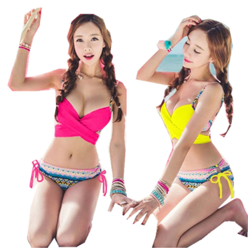 43ad4dd74f596 Get Quotations · HOT SUMMER Sexy Women Bandage Bikini Set Push-up Padded  Bra Swimsuit Swimwear Plus Size