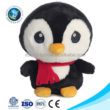 Creative Cartoon Big Eyes Penguin Plush Toy With Red Scarf Fashion