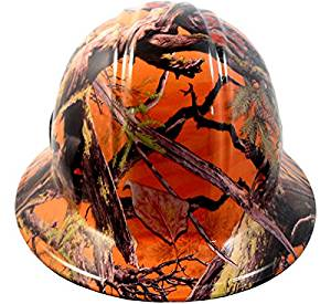 Texas America Safety Company America Camo Full Brim Style Hydro Dipped Hard Hat - Orange