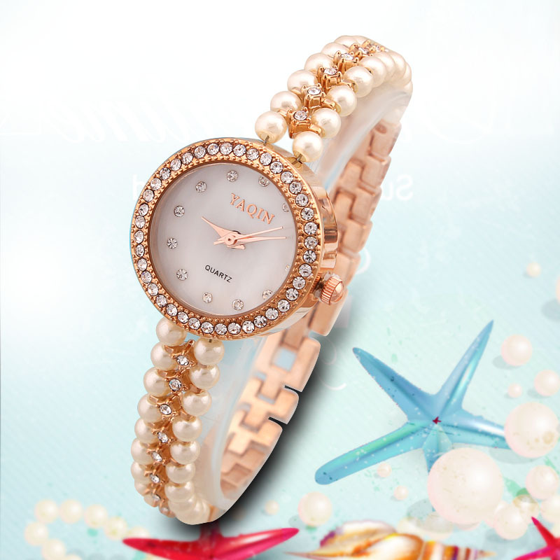 2015 Yaqin Women's Rhinestone Watches Alloy Casual Brand Relogio Feminino Sparkling gold strap Wristwatches  YQ03Clock