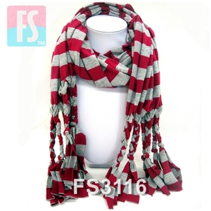 hand knotted fashion strip jersey scarf with braided