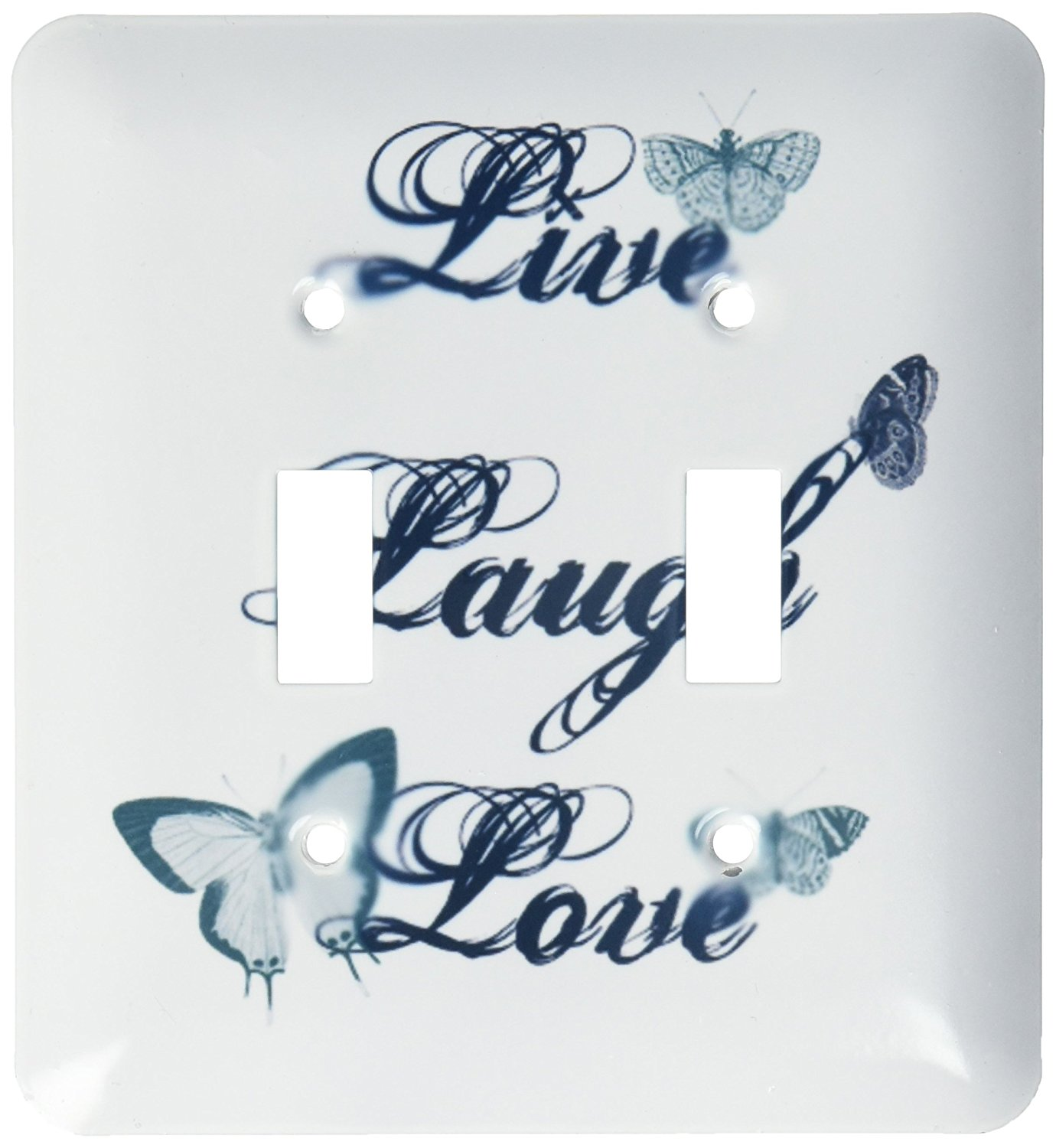 3dRose lsp_130535_2 Live, Laugh, Love Teal Butterflies Inspirational Arat Double Toggle Switch