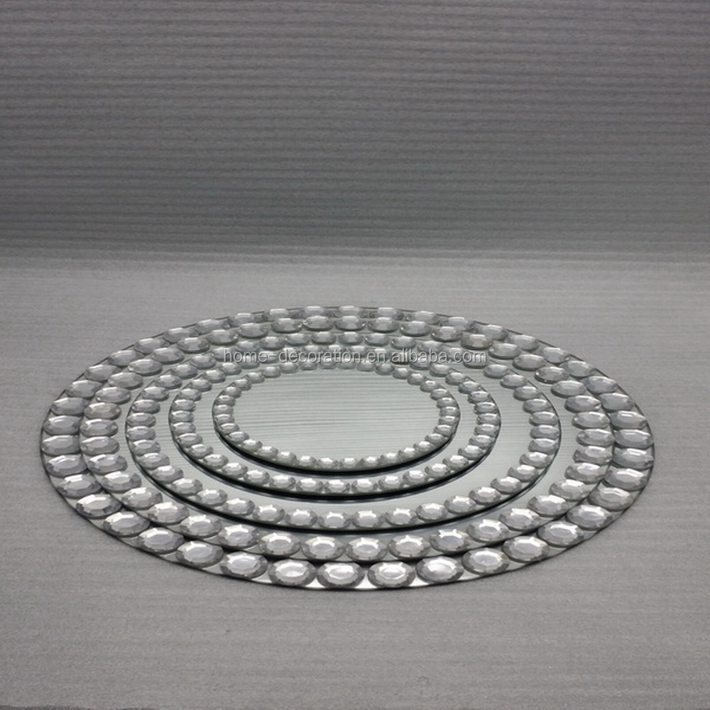 wholesale round silver mirror wedding candle plate with beads