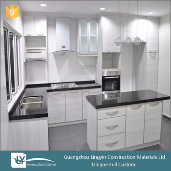 Modern Style White Pvc Kitchen Cabinet With Frosted Glass Doors