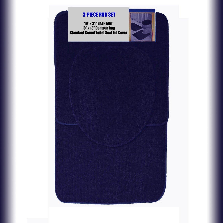 "NAVY 3-Piece Bathroom Set: 1-19"" x 31"" Bath Mat/Rug, 1-19"" x 18"" Contour Mat/Rug, 1-Toilet Seat Lid Cover-Standard Round. Non-Slip/Non-Skid."