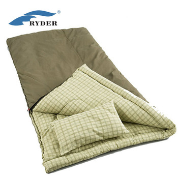 Cold Weather Canvas Fabric Plaid Lining Anti Snag Zipcar Drive Camping Thick Cotton Square Sleeping Bag With Built In Pillow Driving