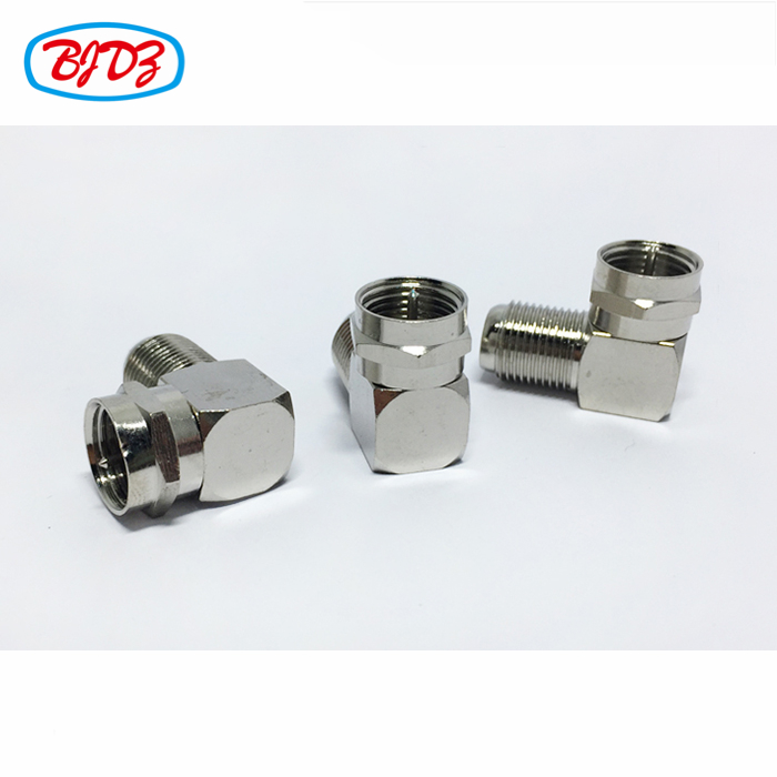 F type 90 degree rf coaxial connector adapter jack F female to F male right angle adaptor