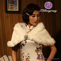 PJ10 2015 White Faux Fur Ladies Winter Wedding Wrap Formal Dress Shawl