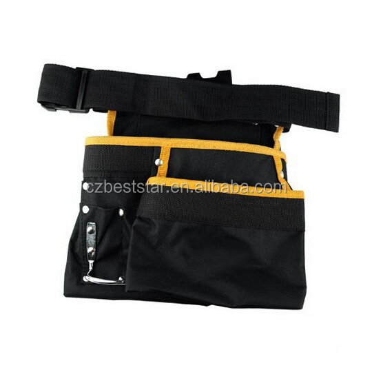 Black and Yellow Multifunctional Pockets Waist Tool Bag Electrician Garden Tool Bag With Belt and Hook