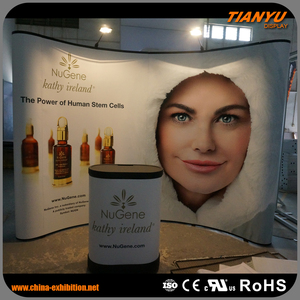Lowest Price Professional Custom Shape Printed Curve Shape PVC Pop Up Display Stand Wall For Exhibition Display