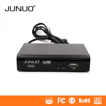 JUNUO manufacturer hd digital tv set top box, free to air dvb-t2 in the world, support wifi and 1080p H.264 decoder for tv