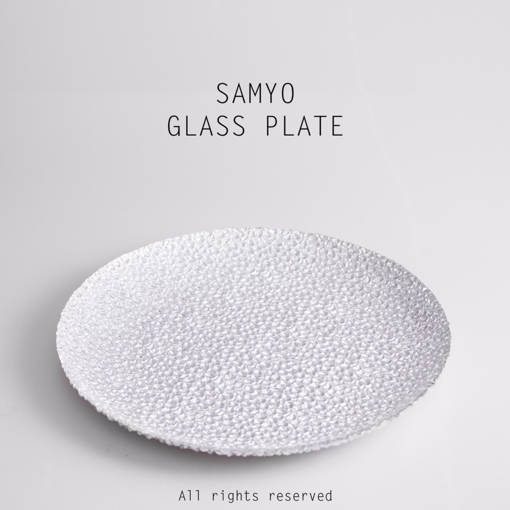 Samyo Glassware solid stone decorative pattern silver glass charger <strong>plate</strong>