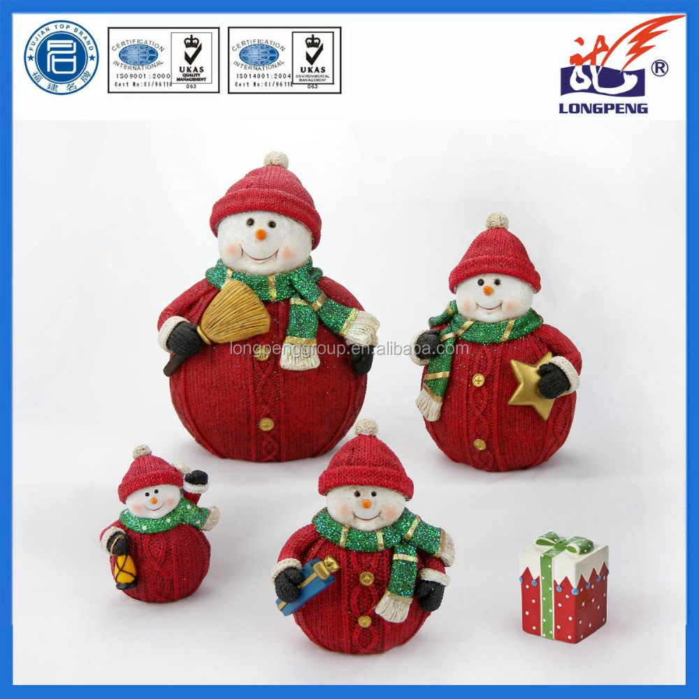 Polyresin christmas snowman decorations,snowman statues wholesale,resin snowman figurines for home decoration